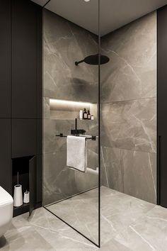 Amazing 33 Stunning Black Bathroom Shower Design Ideas That You Need To Copy Bathroom Design Luxury, Modern Bathroom Design, Washroom Design, Toilet Design, Diy Bathroom Decor, Bathroom Ideas, Bathroom Organization, Budget Bathroom, Master Bathroom