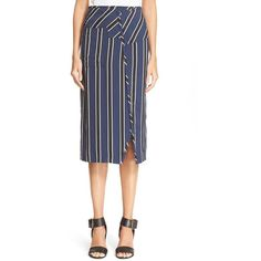 ACNE Studios 'Karlotta VI' Stripe Surplice Skirt ($640) ❤ liked on Polyvore featuring skirts, white skirt, striped skirt, stripe skirt, white midi skirt und white knee length skirt