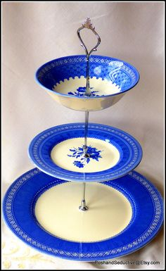 """Churchill's """"Out of the Blue"""" handmade three tier cake stand using finest example of English china inspired by Mary Gilliatt  floral pattern"""