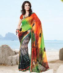 #Black #green and orange colour #Georgette #saree #sari #new arrival #2014