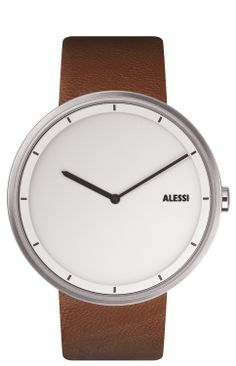 Very simple and clean cut >>>> Alessi Unisex AL13001 Out Time Brown Leather Strap Watch