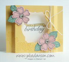 VIDEO Tutorial for Stampin' Up! Birthday Blossoms Diorama Card #stampinup www.juliedavison.com #birthday