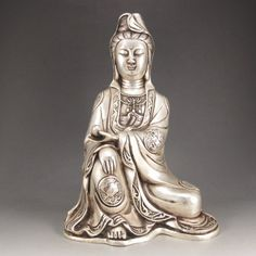 Chinese White Copper Carved Kwan-yin Statue
