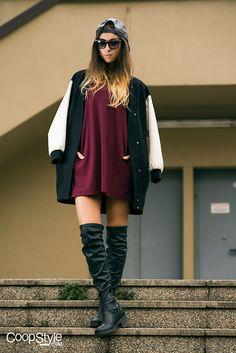 New Era Black Snapback, Ray Ban Sunglasses, Bata Boots, Silvian Heach Dress, Zara Jacket