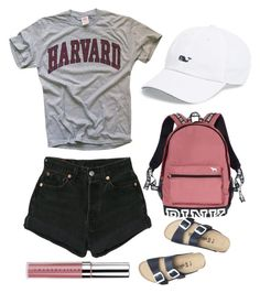 """""""College outfit!"""" by eviemadeleine on Polyvore featuring Vineyard Vines, Levi's, Victoria's Secret, Chantecaille and Birkenstock"""