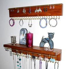 Items similar to Jewelry Organizer Holder, Necklace Organizer, Wall Mounted Rustic Wood, Holds Necklaces Bracelets - DARK MAHORANY variant on Etsy Necklace Storage, Jewelry Rack, Necklace Holder, Jewelry Armoire, Jewelry Holder, Earring Display, Jewellery Display, Jewelry Organization, Rustic Wood