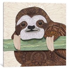 "East Urban Home 'It's A Sloth Kind of Day' by Angelika Parker Graphic Art on Wrapped Canvas Size: 26"" H x 26"" W x 1.5"" D"