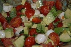 Tomatoes, Avocado, Basil and Mozzarella Cheese---what could be better?