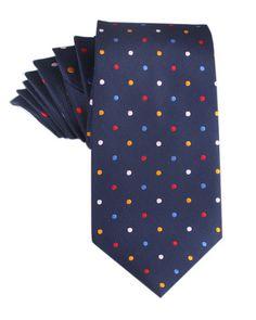 Navy Blue with Confetti Polka Dots Necktie