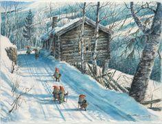 They do exist Scandinavian Art, Scandinavian Christmas, Christmas Pictures, Christmas Art, Norwegian Christmas, Baumgarten, Kobold, David The Gnome, Christmas Illustration
