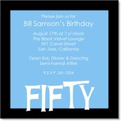 Blue And Black 50th Birthday Party Invitations