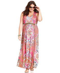 Style Plus Size Dress, Sleeveless Printed Beaded Empire Maxi - Plus Size Dresses - Plus Sizes - Macy's