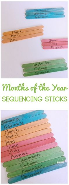 Months of the Year sequencing sticks - this is such a fun, hands on activity to help kids practice putting the months of the year in order and visualize seasons (preschool, prek, kindergarten, first grade, 2nd grade, homeschool)