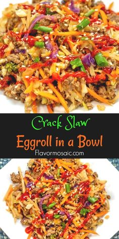 This Eggroll In A Bowl (Crack Slaw) is a one-skillet meal that is bursting with flavor and can be on the table in 20 minutes. It will keep everyone happy because it fits into Keto, Paleo, and Low Carb lifestyles! roll in a bowl Slaw Recipes, Beef Recipes, Vegetarian Recipes, Cooking Recipes, Cooking Cake, Juice Recipes, Turkey Recipes, Cake Recipes, Salads