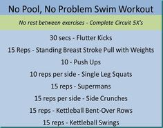 Although I prefer the pool I can't always get there.but at least there is some good alternatives. Swimmers Workout Dryland, Workouts For Swimmers, Pool Workout, Dry Land Swim Workouts, At Home Workouts, Swimming Workouts, Sprint Triathlon, Triathlon Training, Triathalon