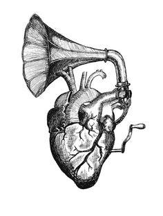 Music heart tattoo idea