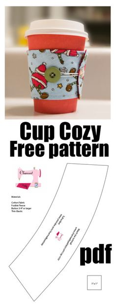 Free Pattern Cup cozy - crochet mug cozy Small Sewing Projects, Sewing Hacks, Sewing Crafts, Sewing Ideas, Fabric Crafts, Bug Crafts, Mug Rug Patterns, Sewing Patterns Free, Free Pattern