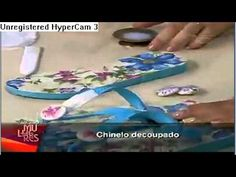 Decoupage em chinelos Programa Mulheres {video in Spanish} --- decorate flip…
