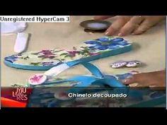 Decoupage em chinelos Programa Mulheres {video in Spanish} --- decorate flip flops using decoupage