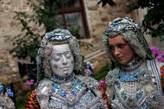Kosovar Bosnian bride with her face paint to ward off bad luck, part of traditional ceremony in the village of Donje Ljubinje, Kosovo