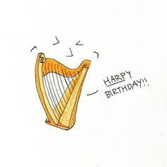 harp Birthday Quotes, Birthday Wishes, Happy Birthday, Muse Of Music, Heart Of Life, Irish Tattoos, Reading Music, Miyazaki, Presidents
