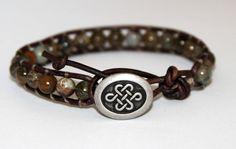 Celtic Leather Wrap Bracelet. Jasper Beaded Bracelet, Celtic Jewelry on Etsy, $38.00