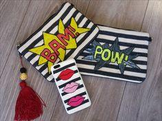 Ekaterini Pop Art Accessories with black and white stripes Jewelry Shop, Jewelry Design, Pop Art Fashion, Clutch Bag, Kiss, Stripes, Black And White, Accessories, Jewlery