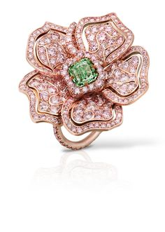 Fancy Intense Green and Pink Diamond Ring totaling 5.88 carats, handcrafted in 18 karat pink gold