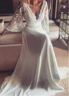 Buy discount Flowing Stin Chiffon V-Neck A-Line Wedding Dresses With Lace Appliques at Dressilyme.com
