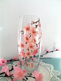 Sakura Glass vase Hand painted vase Hand by PaintedglassbySveti