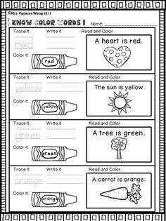 Literacy Worksheets, Kindergarten Worksheets, Kindergarten Classroom, Literacy Activities, Literacy Centers, Classroom Behavior, Kindergarten Writing, Classroom Decor, Color Words Kindergarten