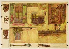 cis. 59, 61, 63-67. Postranni kulissy ku mesta a vesnici. Stapferovy ceské decorace pro 25 i 35 cm. loutky.