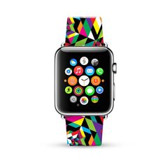 Apple Watch Band 38mm, 42mm for Series 1 Series 2, Apple Watch Strap Calf Leather Wrist Band with Metal Adapter, Colorful Geometric Pattern