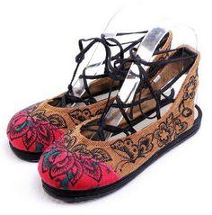 Open Heels Embroidery Cloth Shoes-zeniche.com SKU fb0054