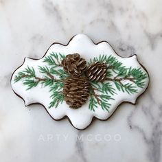 I adore these pinecone cookies! Fancy Cookies, Iced Cookies, Cute Cookies, Royal Icing Cookies, Cupcake Cookies, Cookies Et Biscuits, Onesie Cookies, Cupcakes, Christmas Sugar Cookies