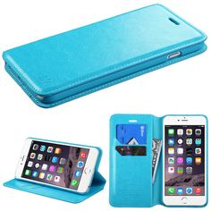 Book-Style Flip Stand Leather Wallet iPhone 6 Plus Case - Blue