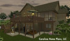 One story house plan for sloped lot with walk-out basement.