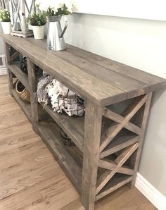 Rustic Farmhouse Console Table - Home Furniture Ideas - Decor, Farmhouse Living Room Furniture, Furniture Decor, Farmhouse Console Table, Home Furniture, Rustic Living Room Furniture, Home Decor, Home Decor Furniture, Farmhouse Furniture