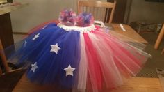 Red, white and blue tutu with matching hair poofs