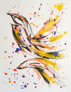 L'envolé, Acylique et encres sur papier BFK Rives, 41 x 30 cm, $280.00  par Suzanne Lavigne Oeuvre D'art, Les Oeuvres, Abstract, Artwork, Painting, Ink, Paper, Summary, Work Of Art
