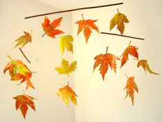 Mobile Autumn Leaves hanging mobile nursery decoration by BUBATIK