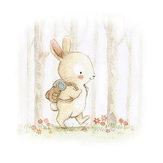 Ilustración infantil conejo de excursión