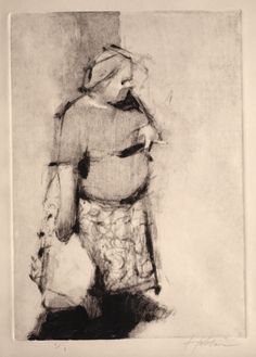 Frank Hobbs- Smoking Woman (Monotype) - has some other tool been used with this? straight lines have been used to imply the form which makes for an abstracted yet ultimately ultra-realistic look somehow.