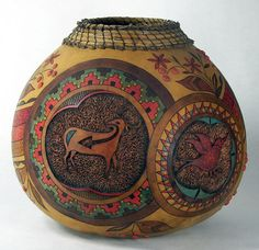 "Friends of the Pueblo, Judy Richie  Medium: Gourd  Size: 10"" x 12""  $ 1,895.00"