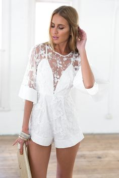 There is 1 tip to buy romper, white romper, lace romper. Bachelorette Outfits, Honeymoon Outfits, Homecoming Romper, Prom, Rompers Women, Jumpsuits For Women, White Lace Playsuit, Camouflage Jumpsuit, Wedding Jumpsuit