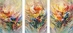 "Triptych: Flowery 1  acrylic painting on canvas in 3 pieces. Totel size of this modern large and bright abstract painting:  Triptych: 3 pieces / every piece 47.2"" height x 33.5"" width x 1.5""depth Together:  47.2"" height x 100.4"" width x 1.5"" depth.  Every piece is signed and dated on the front. So it's both possible to hang them together on one wall or on different places."