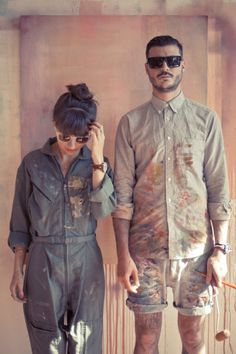 Adore the his 'n' hers painter overalls here - beautiful for utility inspired denim laundry! SupaKitch & Koralie for TRIWA h...