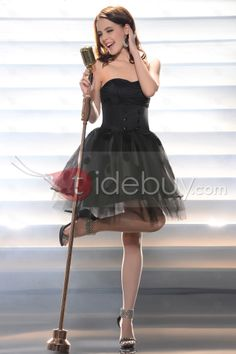 Fancy Black Strapless Empire Mini/Short Little Cocktail/Homecoming Dress : Tidebuy.com