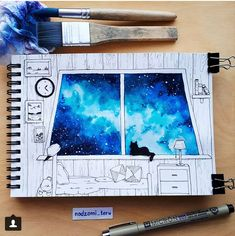 Cats can see more, humans are quite limited creatures. Galaxy Painting, Galaxy Art, Arte Sketchbook, Guache, Pretty Art, Cute Drawings, Art Inspo, Art Sketches, Painting & Drawing