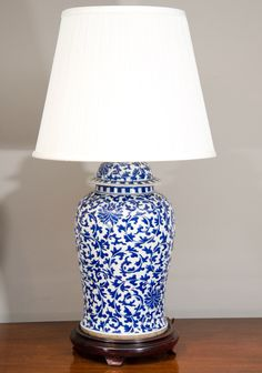 Image of Vintage Chinese Blue White Ginger Jar Lamps - Pair | New ...